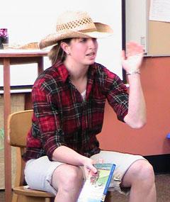 Lindsay Wharton dressed as Huck Finn.