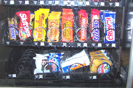 Snack food in vending machine.