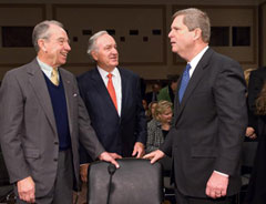 Senators Chuck Grassley, Tom Harkin and former Governor Tom Vilsack.