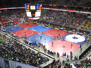 State wrestling tournament in Des Moines.