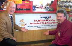 Lottery director Terry Rich, Tracy Unker of Kwik Star.