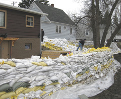Sandbags around homes in Fargo, North Dakota.