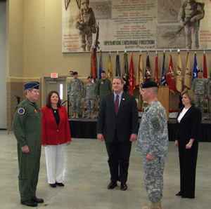 Lt. General Ron Dardis, Carmel Dardis, Governor Chet Culver, General Timothy Orr, Suzanne Orr (L-R)