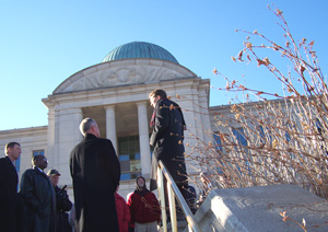 Chuck Hurley of the Iowa Family Policy Center addresses those against gay marriage outside Supreme Court building.