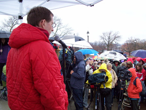Churck Hurley prays at rally against gay marriage.