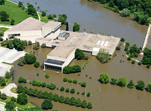 Clapp Recital Hall, Voxman Music Building and Hancher Auditorium surrounded by flood water in June 2008.