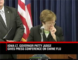 "Lt. Governor Patty Judge's coughing was the subject of a bit on the ""Late Show, with David Letterman."""