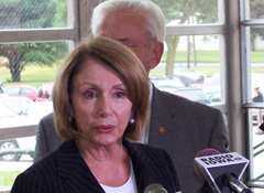 House Speaker Nancy Pelosi during a visit to Des Moines to view flood damage.