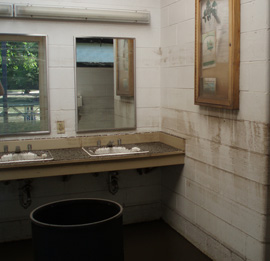 Flooded restroom at George Wyth State Park.