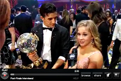 "Shawn Johnson being interviewed after winning ""Dancing with the Stars"""