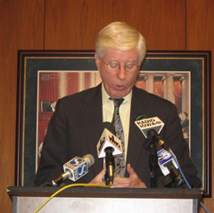 Attorney General Tom Miller talks at Wednesday news conference.