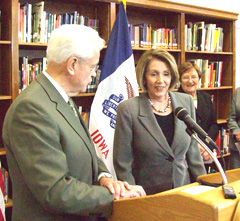 Congressman Leonard Boswell, House Speaker Nancy Pelosi, Lt. Governor Patty Judge.