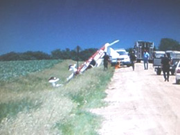Plane on its top after crash west of Sanborn.