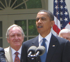 Senator Tom Harkin with President Obama at bill signing.