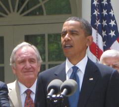 Senator Tom Harkin with President Obama at bill signing.