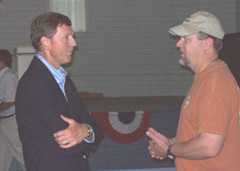 Bob Vander Plaats (left) listens to a man during a Republican event this weekend.
