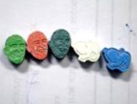 Drugs shaped like cartoon characters and President Obama.