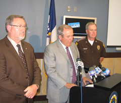 Governor's Traffic Safety Bureau Chief Larry Sauer, Commissioner of Public Safety Gene Meyer, Iowa State Patrol Col. Patrick Hoye. (L-R)
