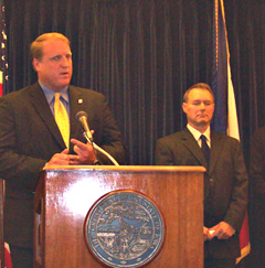 Governor Culver,  Treasurer Michael Fitzgerald (l-r)