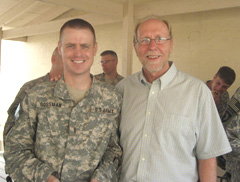 Warrant officer Reed Gossman from Cedar Rapids, Congressman Dave Loebsack. (l-r)