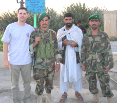 Nathan Timmel with soldiers on trip to Afghanistan.