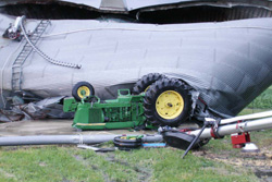 A tractor was tipped over by a storm in Fayette County.