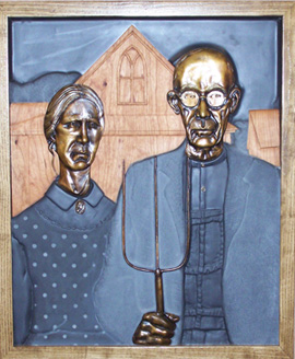 A representation of American Gothic that allows the blind to touch and interpret the painting.