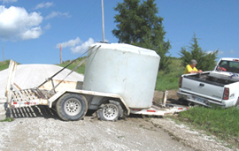 Trailer with tank containing allegedly stolen water.