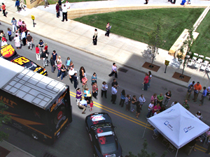 Fans lined up in Des Moines Wednesday  to get autographs from drivers.