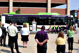 Hybrid bus unveiled in Des Moines.