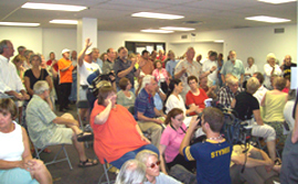 Crowd at Senator Tom Harkin's town hall meeting on health care.