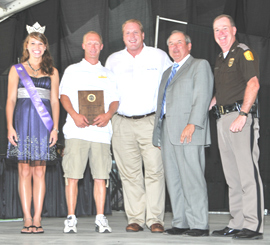 State Fair Queen Ashley Quade of Manson, Dan Davis, Governor Culver, Commissioner Gene  Meyer, Colonel Patrick Hoye of the Iowa State Patrol.