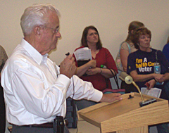 Congressman Leonard Boswell talks at town hall meeting in Sigourney.