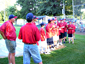 Urbandale Little League team at ceremony honoring them.