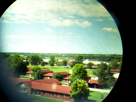 Picture through the eyepiece of the periscope at the Gold Star Museum.