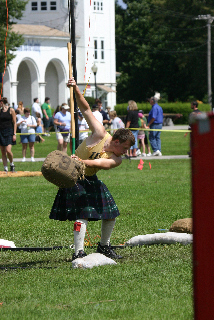 Atlete participating in Celtic Highland Games.
