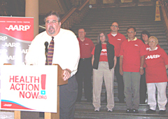 A.A.R.P. state director speaks about health care at the Iowa statehouse.