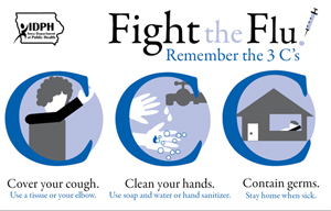 Flu postcard that will be sent to Iowans.