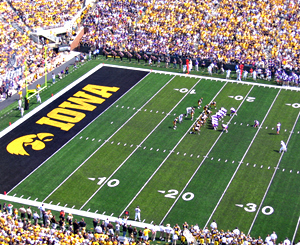 UNI lines up for a field goal against Iowa.