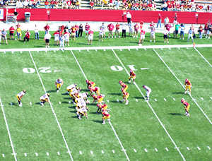 Iowa on offense against Iowa State.