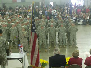 Soldiers welcomed home in ceremony in Mason City.