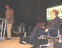 World Food Prize winner Gebisa Ejeta talks with Bill Gates.