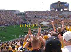 Iowa football fans at Kinnick Stadium.