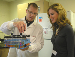 Miss Iowa Anne Michael Langguth in the lab.