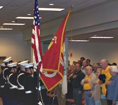 Veterans say the pledge of allegiance.