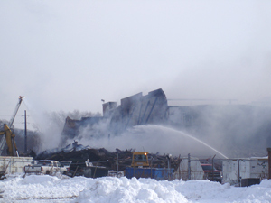 Fire at the former Farmland plant in Cedar Rapids.