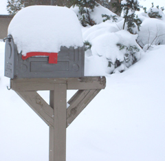 Snow covered mailbox.