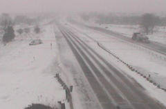 Car in ditch on I-35 near Ankeny. (DOT Camera)