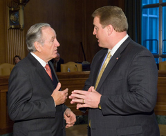 Senator Tom Harkin talks with Governor Chet Culver during a recent hearing in Washington, D.C.