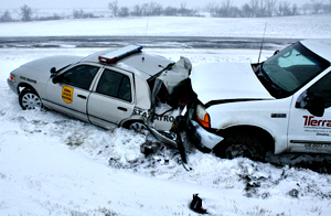 State Patrol car wrecked in crash.